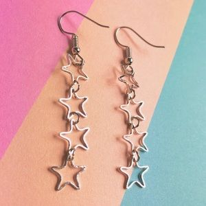 New! Open Stars Linear Drop Earrings Silver